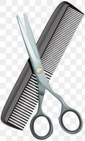 Comb And Scissors Clip Art Image - Comb Scissors Hair-cutting Shears Clip Art PNG