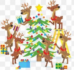 Vector Festive Christmas Tree Christmas Cartoon Deer - Christmas Tree Christmas Lights New Year Tree Gift PNG