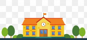 Cartoon Orange School Vector - Student Malang School Education Learning PNG