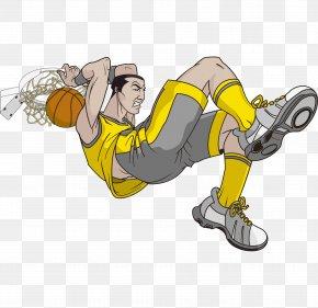 Vector Cartoon Hand Painted Dunk To Play Basketball Player - Cartoon Basketball Clip Art PNG