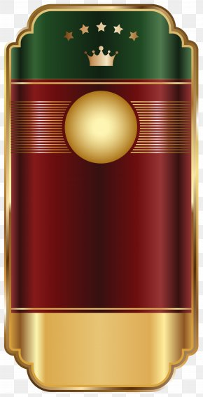 Gold Red Label Template Transparent Clip Art Image - Label Clip Art PNG