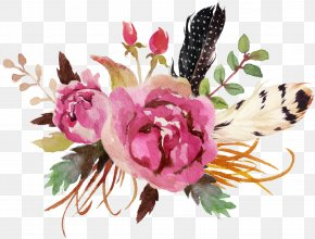 Feather Watercolor - Watercolour Flowers Watercolor Painting Floral Design Deer PNG