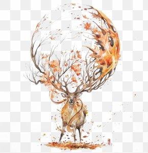 Autumn Deer - Deer Watercolor Painting Drawing Illustration PNG