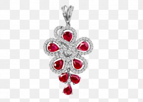 Ruby Jewellery - Ruby Earring Necklace PNG