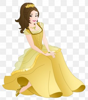 Victorian Fashion Dress - Yellow Cartoon Costume Design Fashion Illustration Gown PNG