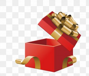 Vector Red Gift Box - Gift Box Christmas Illustration PNG