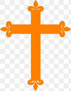 Orange Cross - Infant Baptism Christian Cross First Communion Clip Art PNG