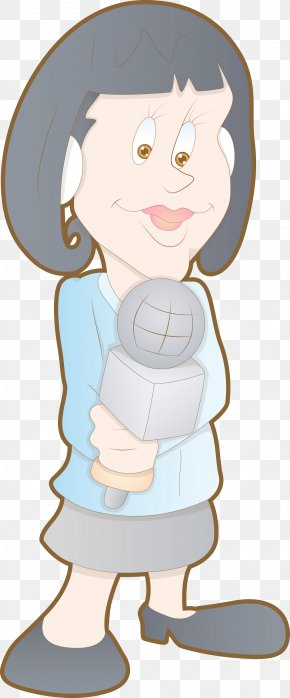 Cartoon Characters Woman Material - Cartoon Journalist Drawing Photography PNG