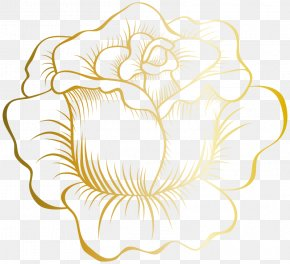 Gold Flowers - Clip Art Borders And Frames Image Rose PNG