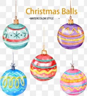 Christmas Balls Five - Christmas Ornament Watercolor Painting Ball PNG