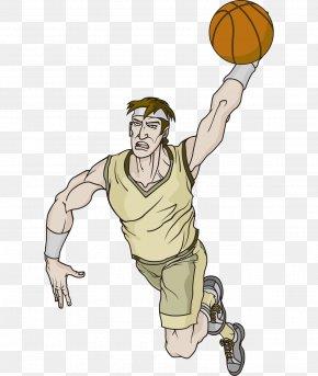 Vector Handsome Cartoon Playing Basketball Comic Man - Cartoon Basketball Character Clip Art PNG