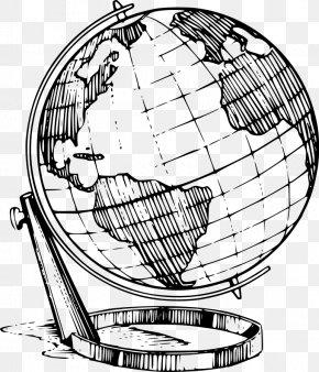 Globe Line Art - Globe Drawing Line Art Clip Art PNG