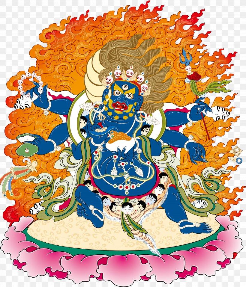 Yamantaka Wisdom King Marici Thangka, PNG, 4831x5648px, Yamantaka, Art, Bodhisattva, Costume Design, Fictional Character Download Free