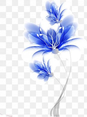 Hand-painted Flower Pattern Blue Dream - Flower Blue Drawing PNG