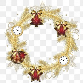 Christmas - Christmas Garland Wreath Clip Art PNG