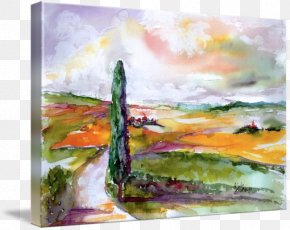 Watercolor Scenery - Watercolor Painting Modern Art Acrylic Paint Still Life PNG