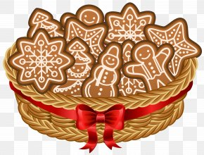 Christmas Basket With Gingerbread Cookies Clip Art Image - The Gingerbread Man Cookie Clip Art PNG