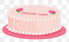 Pink Happy Birthday Cake Clipart - Birthday Cake Icing Clip Art PNG