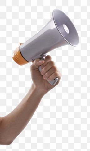 Hand Holding The Sound Tube - Microphone Horn Loudspeaker PNG