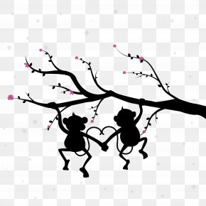 Couple Silhouette Monkey - Silhouette PNG