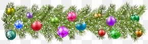 Christmas Pine Branches And Christmas Balls Clip Art Image - Christmas Ornament Clip Art PNG
