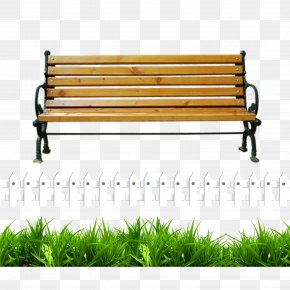White Fence Green Park Bench - Bench Clip Art PNG