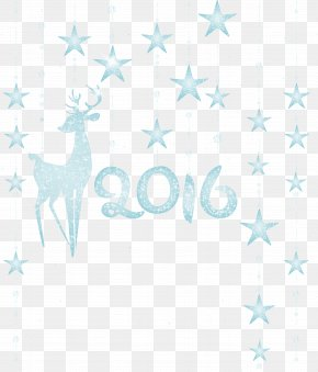2016 Decoration With Deer Clipart Image - Textile Blue Product Pattern PNG