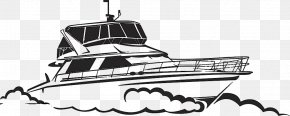 Black And White Hand-painted Yacht Vector - Yacht Drawing Boat Illustration PNG