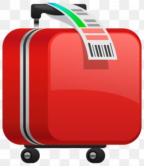Checked Red Suitcase Clipart Image - Suitcase Baggage Clip Art PNG