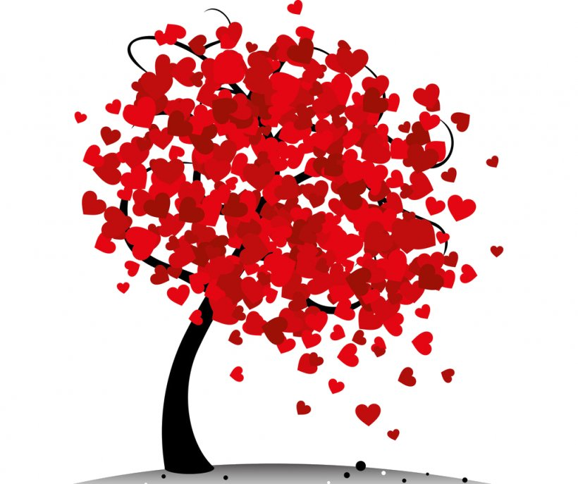 Valentine's Day Tree Heart Clip Art, PNG, 1024x859px, Watercolor, Cartoon, Flower, Frame, Heart Download Free