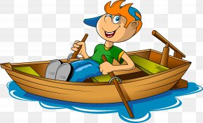 A Boy Rowing In The River - Rowing Boat Canoe Clip Art PNG
