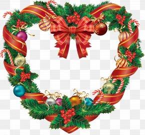 Wreath - Candy Cane Christmas Decoration Wreath Clip Art PNG