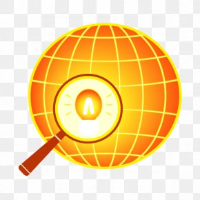 Vector Yellow Earth And Magnifying Glass - Logo Stock Illustration Royalty-free Illustration PNG