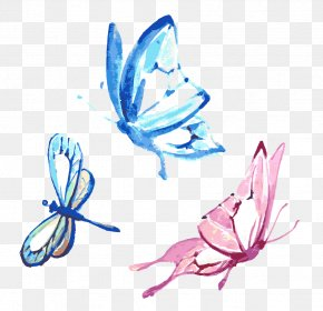 Vector Butterfly Watercolor - Butterfly Watercolor Painting Drawing PNG