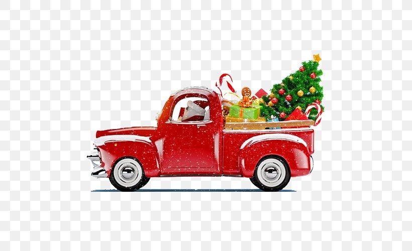 Santa Claus Christmas Tree Christmas Decoration Truck, PNG, 500x500px, Santa Claus, Automotive Design, Car, Christmas, Christmas Decoration Download Free