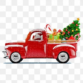 Truck Christmas Decoration Elements - Santa Claus Christmas Tree Christmas Decoration Truck PNG