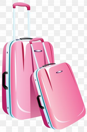 Pink Travel Bags Clipart Image - Hand Luggage Bag Brand PNG