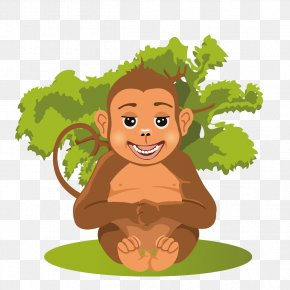 Monkeys Frolic - Baby Jungle Animals Cartoon PNG