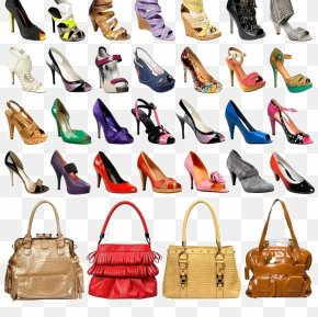 A Variety Of High-heeled Shoes And Bags Collection - Court Shoe Handbag High-heeled Footwear PNG