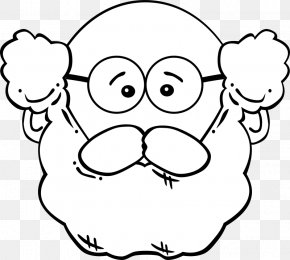 White-bearded Grandfather - Man Mask Coloring Book Clip Art PNG