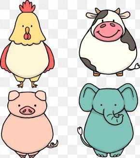 Vector Cartoon Pig And Elephant - Cattle Domestic Pig Euclidean Vector Clip Art PNG