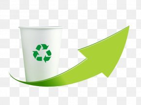 Green Recycle Paper Cups Creative - Recycling Symbol Paper Recycling Bin Waste PNG