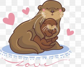 Hand Painted Cute Seal Mother And Son - Dog Earless Seal Illustration PNG