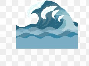 Vector Hand-painted Blue Waves Waves - Euclidean Vector Wind Wave Sea Foam PNG