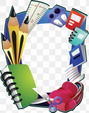 Cartoon School Supplies - Borders And Frames Picture Frame School PNG