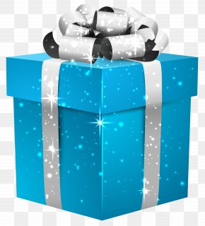 Blue Shining Gift Box With Silver Bow Clipart Image - Gift Box Glenna Farms Computer File PNG
