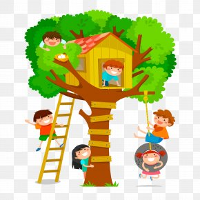 Cute Kids Playing - Tree House Stock Photography Clip Art PNG