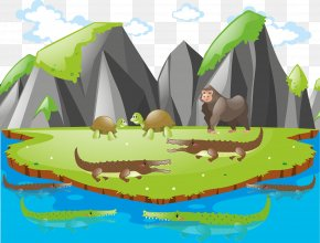 Animal Island Background Vector - Royalty-free Euclidean Vector Illustration PNG