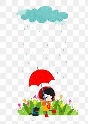 Red Umbrella Rainy Day - Umbrella Illustration PNG