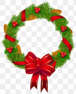 Christmas Pine Wreath With Red Bow Clipart Image - Christmas Decoration Christmas Ornament Christmas Tree PNG